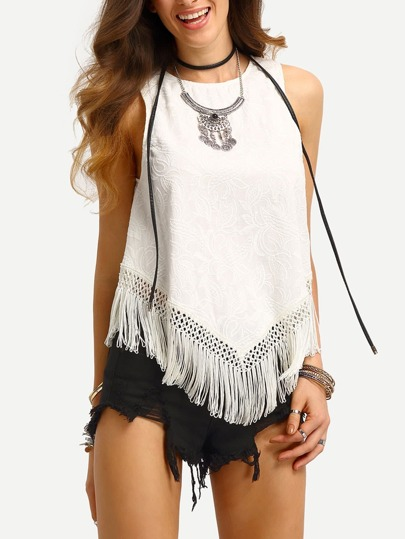 White Sleeveless Tassel Low High Blouse