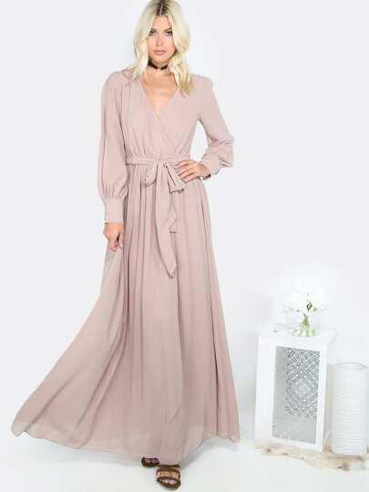 Flowy Gathered Maxi Dress MOCHA