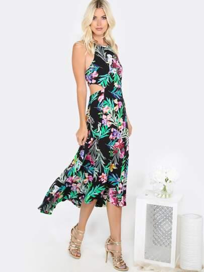 Floral Halter Cut Out Dress BLACK