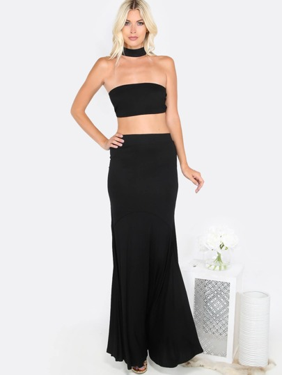 Tube Top Maxi Matching Set BLACK