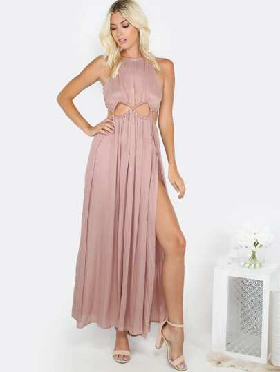 Cut Out Rope Slit Maxi Dress MOCHA