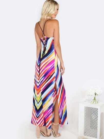Colorful Lace Up Maxi Dress MULTI