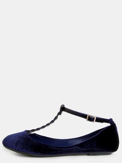 Braided T-Strap Velvet Flats NAVY