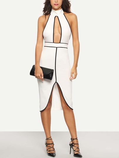 White Halter Sleeveless Cutout Sheath Dress