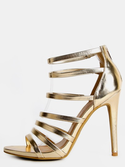 Metallic Strappy Single Sole Heels GOLD