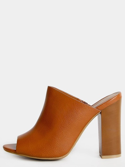 Open Toe Faux Leather Mules TAN