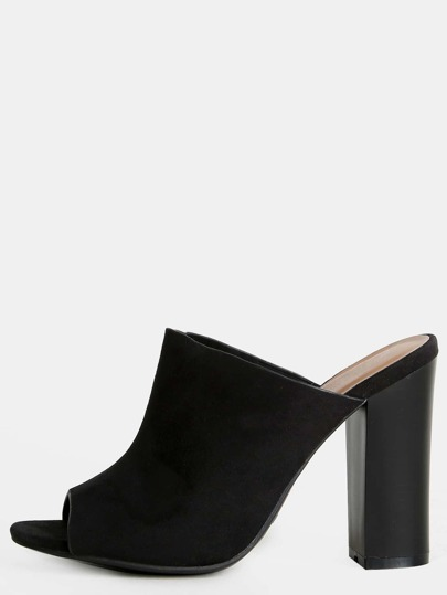 Backless Faux Suede Mules BLACK