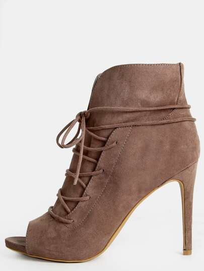Faux Suede Lace Up Stiletto Ankle Boots TAUPE
