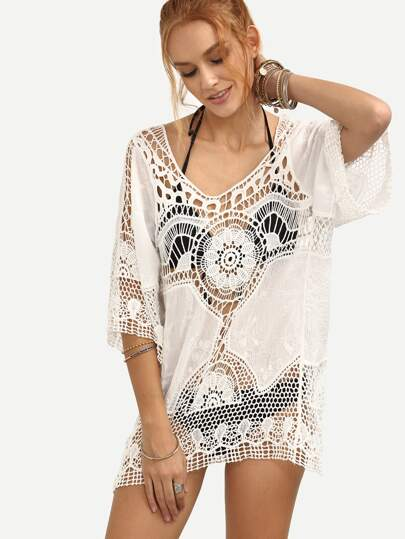 Hollow Out Crochet Insert Cover-Up Top - White