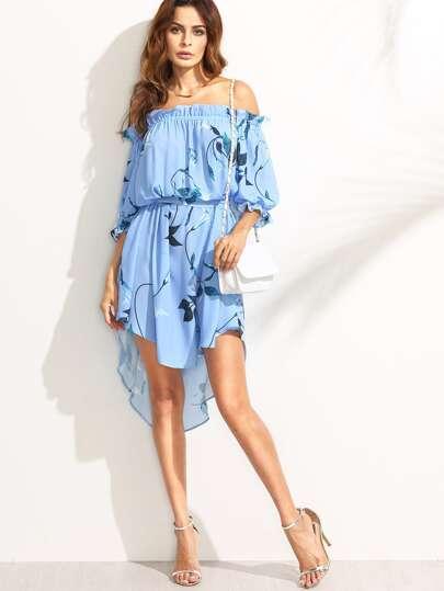 Синее асимметричное платье с принтом с открытыми плечами