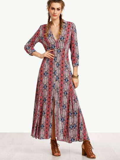 Multicolor V Neck Split Side Long Dress