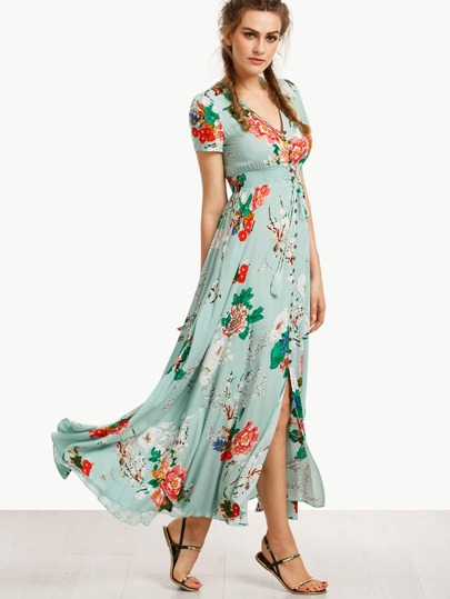 Print In Green Short Sleeve Long Dress