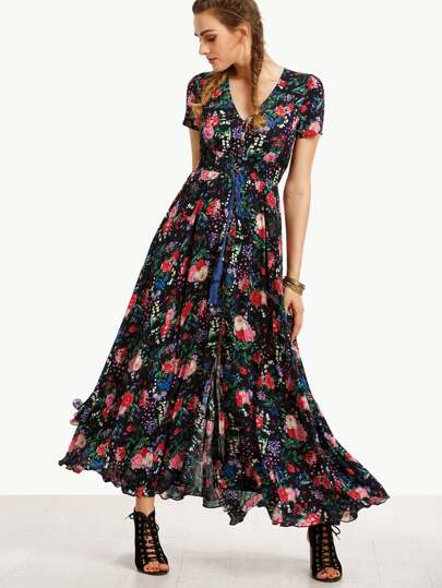 Print In Black Ruffle Hem Long Dress