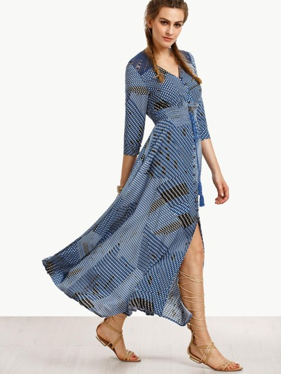Blue Print Crochet Insert Drawstring Button Front Dress