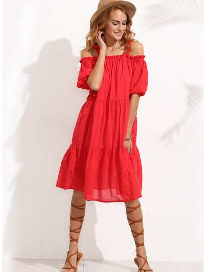 Red Tassel Tie Cuff Cold Shoulder Dress