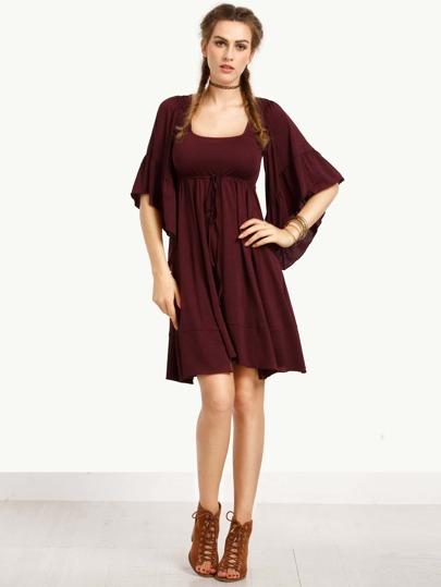 Burgundy Bell Sleeve Pleated Dress