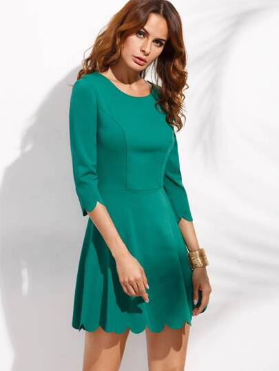 Green Half Sleeve Slim A-Line Dress