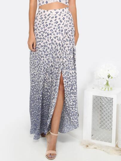 Floral Slit Maxi Skirt MULTI