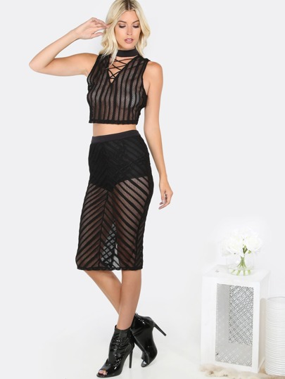 Striped Mesh Matching Set BLACK