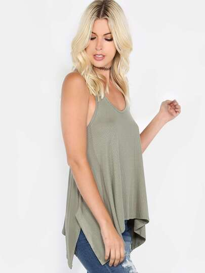 Strappy Ribbed Asymmetrical Tank Top OLIVE