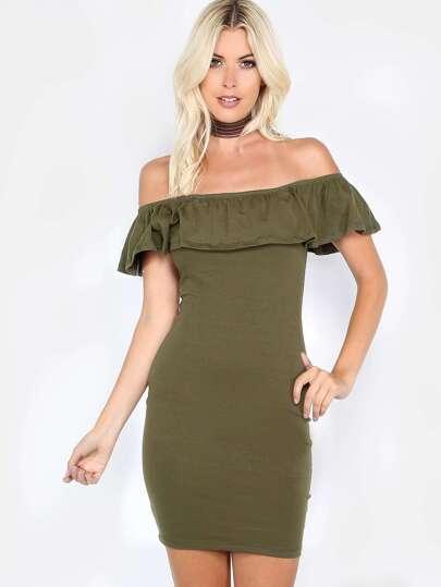 Ruffle Bardot Bodycon Dress OLIVE