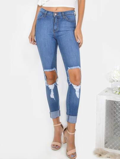 Distressed Medium Wash Jeans MEDIUM STONE