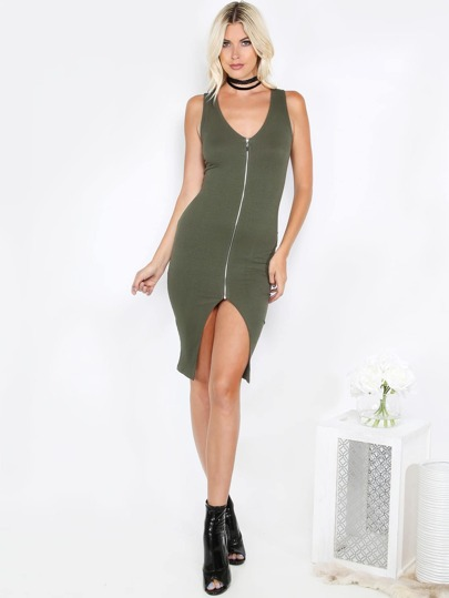 Ribbed Zipper Tank Dress OLIVE