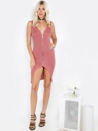 Zipper Front Bodycon Dress MAUVE