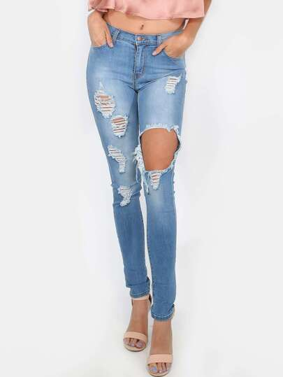 Ripped Medium Wash Skinny Jeans MEDIUM STONE
