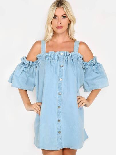 Denim Button Down Dress DENIM