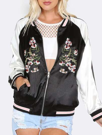 Embroidered Satin Reversible Jacket BLACk