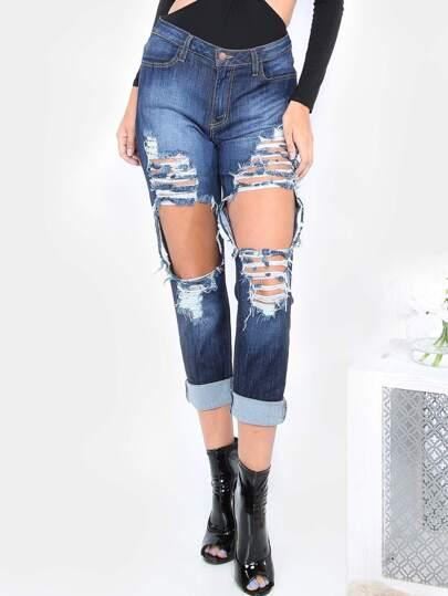 Ripped Boyfriend Jeans  BLUE