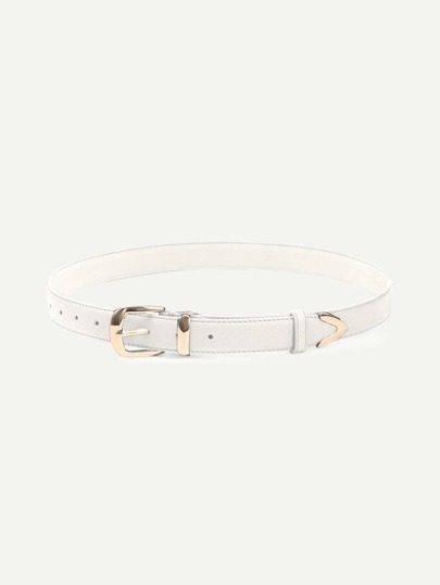 White Metal Buckle Belt