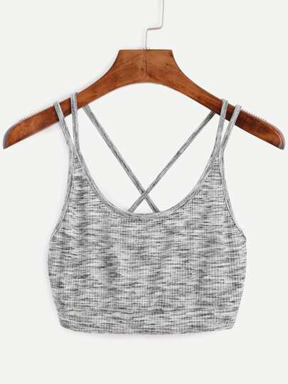 Grey Scoop Neck Crisscross Crop Top