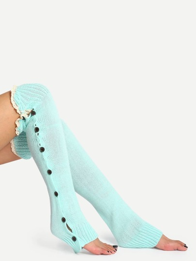 Blue Button Lace Knee Knit Boots Socks