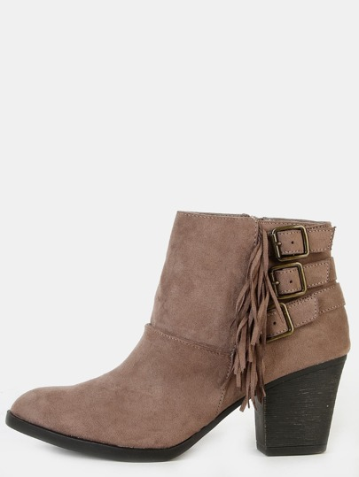 Faux Suede Fringe Ankle Boots TAUPE