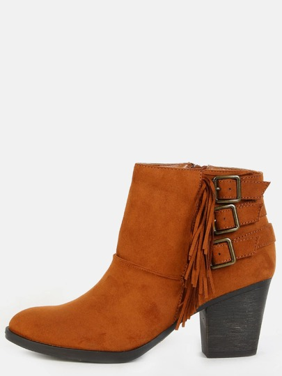 Stacked Heel Fringe Suede Booties CHESTNUT