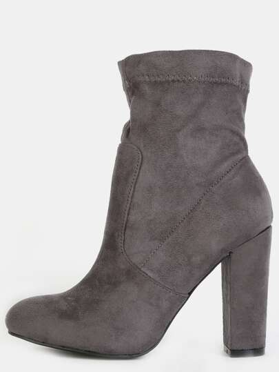 Chunky Heel Faux Suede Booties GRAY