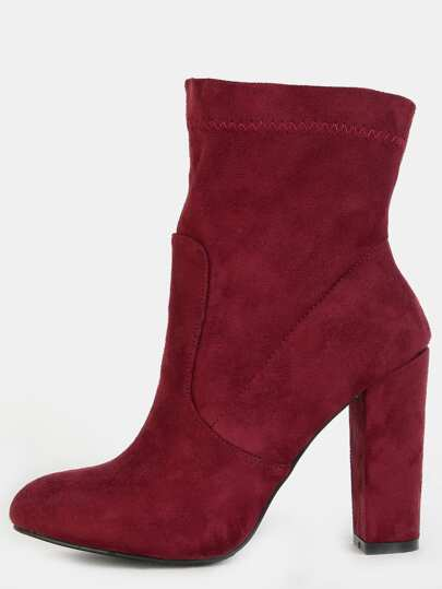 Faux Suede Chunky Heel Ankle Booties BORDEAUX