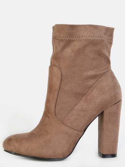 Faux Suede Almond Toe Ankle Boots BEIGE