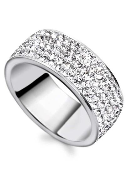 Strass verkrustete Ring-silber