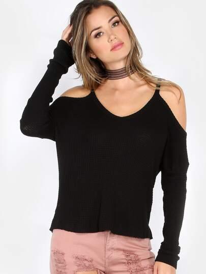 Cold Shoulder Knit Sweater BLACK