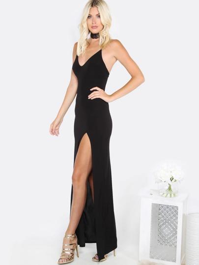 V Neck Slit Maxi Dress BLACK