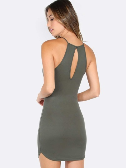 Scallop Hem Ribbed Mini Dress OLIVE