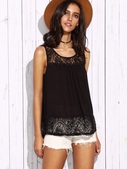 Black Lace Panel Keyhole Back Tank Top