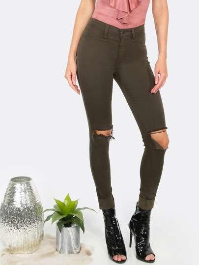 Highwaist Knee Slit Skinny Jeans OLIVE