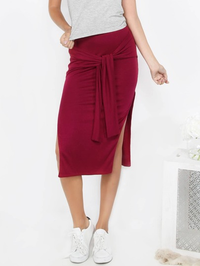 Burgundy Tie Waist Sheath Skirt