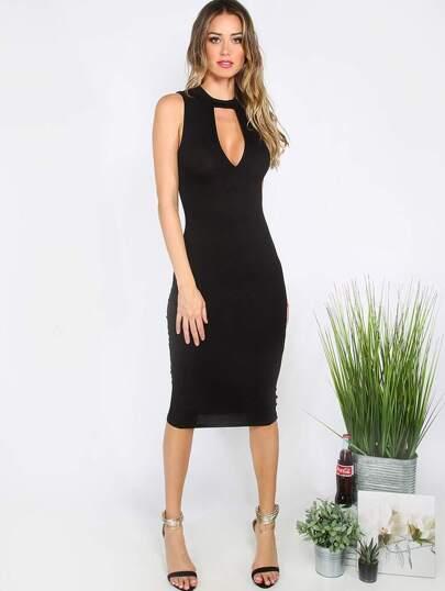 Black Cutout Sleeveless Sheath Midi Dress