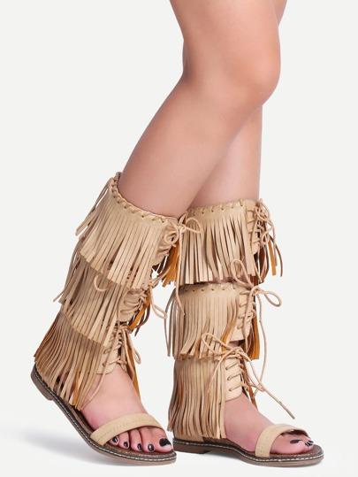 Apricot Lace Up Tassel Flat Sandals