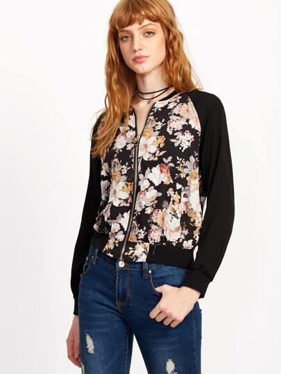 Multicolor Floral Zipper Long Sleeve Jacket